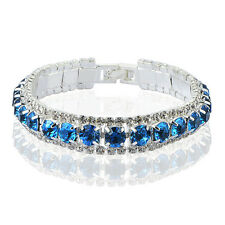 Womens Square Vogue Crystal Sapphire Lucky Silver Bracelet White gold fiiled