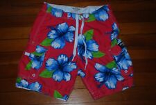 Men's Abercrombie and Fitch A&F Pink/Blue Surf Floral Swim Trunks Shorts (Large)