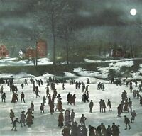 Winter Night Crowd Ice Skaters Pond Hamilton Park Waterbury CT Postcard c1910s