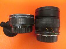YASHICA LOT OF 2 LENSES 42-75 mm YUS 2x AUTO TELE CONVERTER BAYONET JAPAN CUPS