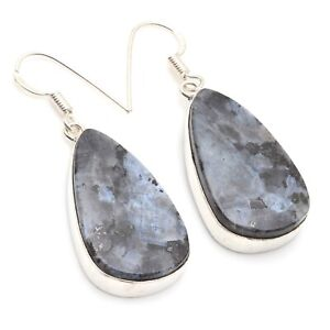"""MARCASITE & 925 SILVER PLATED DANGLE EARRING 1.8"""", S-12439"""