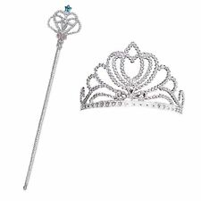Kids Girls Fairytale Princess Fairy Silver Wand Crown Queen Dress Up Kit Set