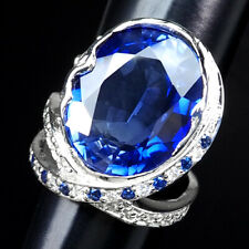 AAA VIOLET BLUE TANZANITE RING 21.10 CT. SAPPHIRE 925 STERLING SILVER SZ 6.25