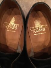 CROCKETT & JONES VINTAGE SHOES Derby Woodstock BLACK Size 9 E Superb Condition