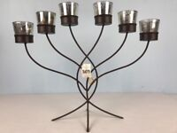 Yankee Candle Votive Candle Holder Mercury Glass Brown Metal Candelabra