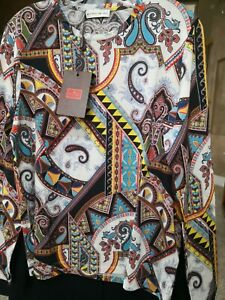 NWT Etro $640 48IT/12-14US 71%Wool Thin Sky Blue/Multicolor Paisley Stretchy Top