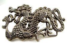 Large Silvertone Dragon Belt Buckle