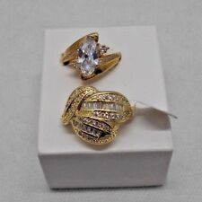 Gold Tone Cluster Solitaire Diamond Like Rings Costume Jewelry Set of 2