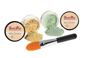 GREEN & YELLOW CORRECTOR KIT Mineral Makeup Concealer Bare Skin Sheer Powder