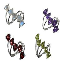 Handmade 925 Solid Sterling Silver Ring Natural Multi Gemstone US Size R001