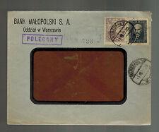 1929 Warsaw Poland Malopolski Bank Commercial Cover Window Envelope