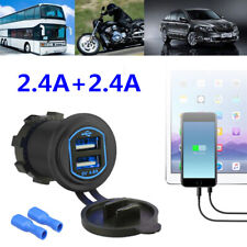 Dual Car Usb Quick Charger Led 2.4A*2 Boat Truck Interior Charging Accessories (Fits: Charger)