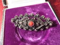 Hübsche Silber Brosche Gründerzeit Jugendstil Art Deco Koralle Rot Filigran