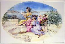 """""""GRECO Ladies"""" MURO pannello di mattonelle piastrelle x 6 15 CM x 15 cm decorati a mano in UK"""
