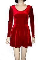 Red Velvet Velour Long Sleeve Skater Swing Dress Party Night Out Christmas