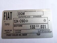 Placa de identificación Fiat escudo s29 124 cso cs0 124cso Spider Pininfarina