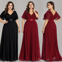 Ever-Pretty US V-neck Burgundy Bridesmaid Dresses Long Maxi Party Gowns 09890