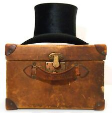 RARE LATE 19TH C ANTIQUE LINCOLN BENNETT & CO LONDON TOP HAT W/ORIG LEATHER CASE