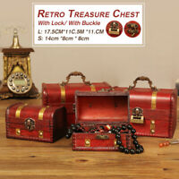 ❤️ Retro Wooden Treasure Chest Box Jewelry Storage Trinket Keepsake Case Lock