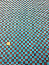 100% cotton quilting craft Fabric Blue Brown Check Graphix Paint Brush Studio