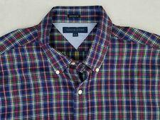 Men's Tommy Hilfiger Button Down Long Sleeve Shirt Plaid Size 17-1/2 34/35 ZH