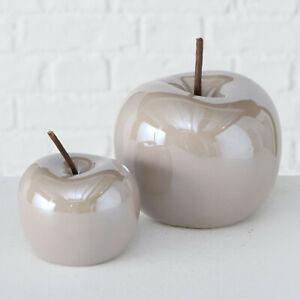 2 x Glossy Metallic Light Brown Ceramic Apple Fruit Mantle Table Ornaments Set
