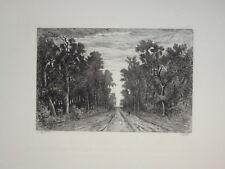 Théodore ROUSSEAU (1812-1867) GRAVURE PAYSAGE CHAILLY ECOLE DE BARBIZON 1870