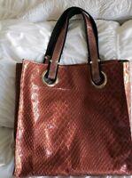 Kate Landry Red Faux Alligator V Large Tote Purse Shopper Shoulder Bag