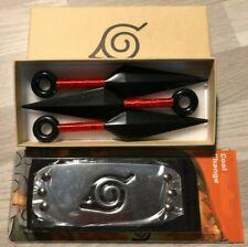 Ensemble Coffret Déguisement Bandeau Frontal Naruto + 3 kunais noirs et rouges