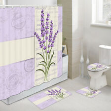 Lavender Postcard Shower Curtain Toilet Cover Rug Bath Mat Contour Rug Set