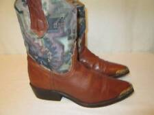 Vintage Ll Bean Cowboy Boot Brown Leather Tapestry Aztec Fabric Gold Toe Guard 7