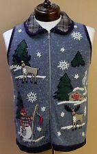Christmas Sweater Vest Snowman Snowflake Reindeer Rudolph Zip Front Angora sz S