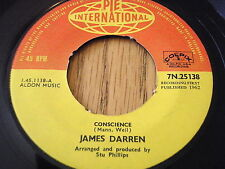 "JAMES DARREN - CONSCIENCE    7"" VINYL"