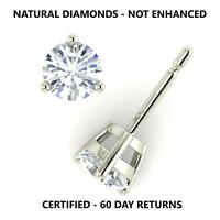 0.50 Ctw D Vs2 Real 100% Natural Diamond Round Cut Stud Earrings 14K White Gold