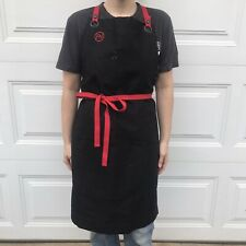 Fn Sharp Waxed Cotton Chef Kitchen Industrial Apron Red Black goth Alt Cook