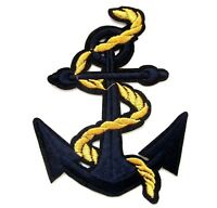 Anchor Gold Patch Rope Sailor Navy Embroidered Iron Sew On Applique Badge Sea