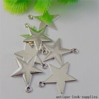 Vintage Silver Alloy Five-point Stars Pendants Charms Crafts Finding 20pcs 50813
