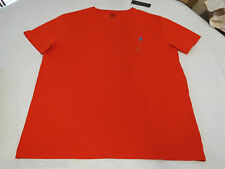 Men's Polo Ralph Lauren T shirt v neck Bright Poppy logo soft lg L NEW 0494174