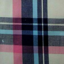White Blue Pink Plaid Cotton Pocket Square