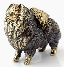 German Spitz Brass Bronze Figurine Dog Sculpture Russian Souvenir 1 1/2""
