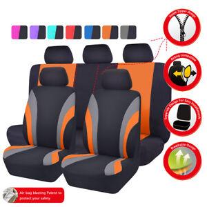 Universal Car Seat Covers Black Orange For Women Girls Fit SUV Truck Sedan Van