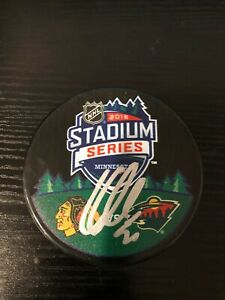 Corey Crawford Autographed 2016 Stadium Series Hockey Puck