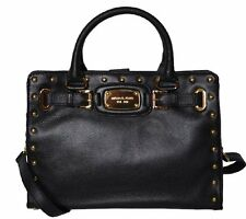 MICHAEL KORS HAMILTON BLACK LEATHER ROCK & ROLL STUD SATCHEL TOTE BAG $448 NWT!