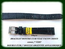 BRACELET MONTRE CUIR DE VEAU FACON CROCO DOUBLÉ CUIR 12mm VERT REF.PB412
