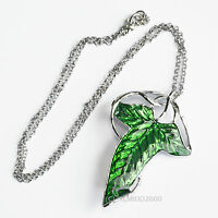 LOTR Lord Of The Rings Hobbit Frodo Aragon ELVEN LEAF BROOCH Necklace Pendant