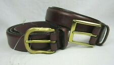 Nordstrom Monticello Cale Oxblood Leather 2 Dress Belts Size 30 Brass Buckle