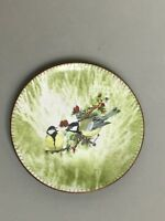 "5"" Enamel on Copper 2 Birds Green Signed by Artist"