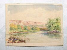 Jewish Vintage Israel Artist A. Tavori Signed Watercolor Painting Small 1949 Art