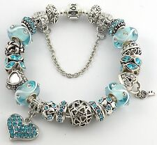 Authentic PANDORA Bracelet with AQUA LOVE themed European Charms & Murano Beads