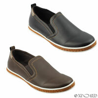 Mens Faux Leather Smart Casual Sneakers Slip on Shoes Black Brown Size 44 45 46